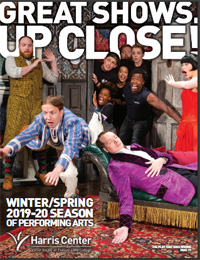 Cover of Harris Center Winter/Spring Brochure featuring The Play That Goes Wrong