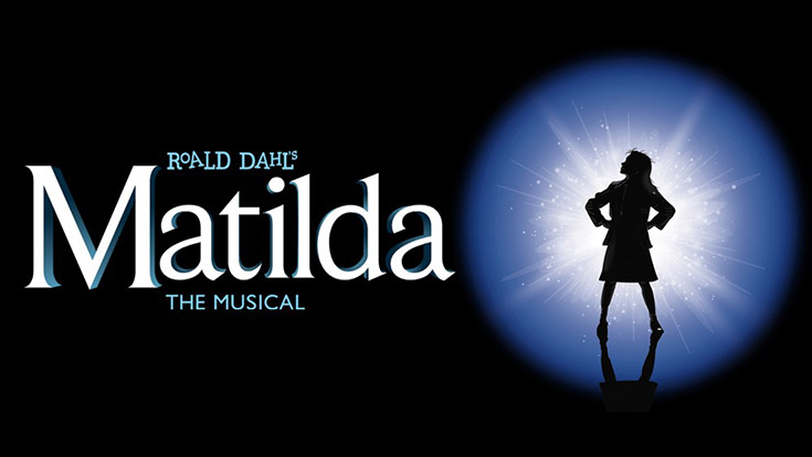 Logo for Roald Dah's Matilda with silhouette of a young girl.