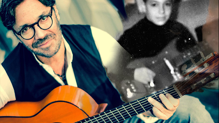 A composite image of Al Di Meola with his guitar alongside a childhood image.