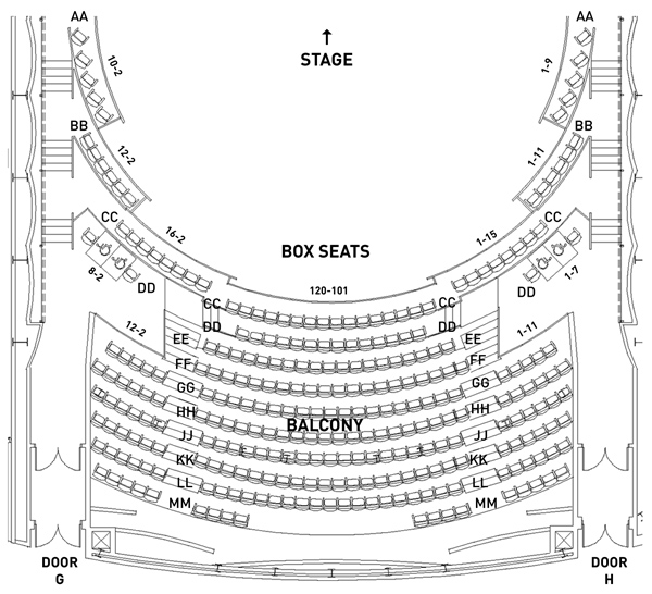 Stage One Upper Level Seating Map