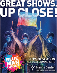 Cover of Harris Center Season Brochure featuring Blue Man Group