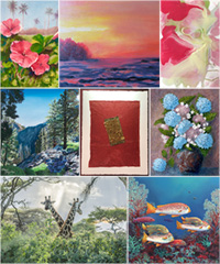 Collage of various El Dorado Hills Arts Association works and paintings
